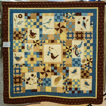 10:-Birds of a Feather By Maureen Don / BOM My first attempt at hand applique. Hand and machine quilted