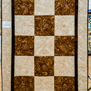 11:-Celtic Beauty By Margaret Currie / Traditional Celtic designs used to create a very personal quilt, Link blocks designed by me.