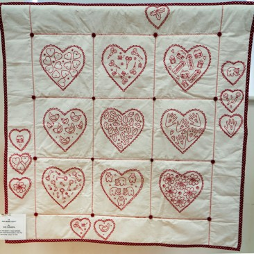 15:-Red Work Quilt By Sue Ovenden / Why red-work? I have always enjoyed hand-embroidery and my favourite colour is red.