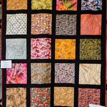 18:-Japanese Inspiration By Dorothy Oldman / These lovely materials and colours seemed perfect for quilting with embroidery.