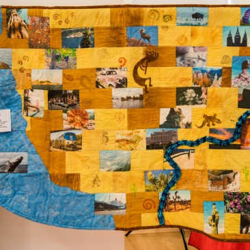 32:-Desert States By Jenny Mounter / Made for my level 2 C&G. It's based on holiday photographs of the American desert states. Fabric self-dyed and rusted, stamps also self-made.