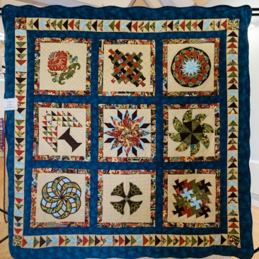 34:-Fish In The Pond By Pat Linstead / Quilt as you go. Made for my son who loves fishing.