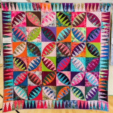 45:-Multicolour Mitochondria By Ruth Jefferson / Started several years ago, Rattlesnake block insired by Karen Stone and the ever prodigious 'Exuberant Colour Blogger'!