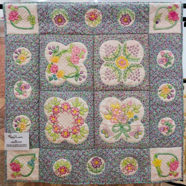 49:-Summer Flowers By Jennifer Atkin / This quilt was a BOM for the Quilters Guild from a design by Jackie Harvey.