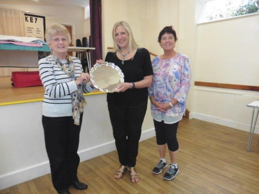 Linda Turner (left) & Gail Lawther (right) present Michèle Evans with the Christina Goose Award 2019