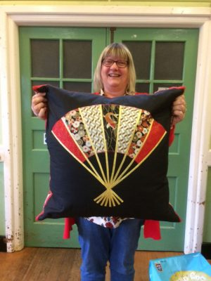 Janice Bell with her Japanese style fan cushion