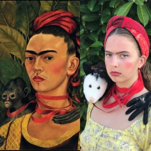 Adele as Frida Kahlo Auto Portrait with a Monkey 1940 YQ