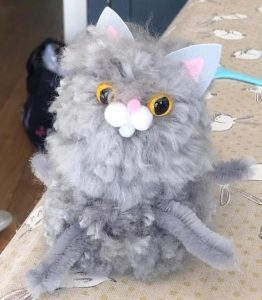 Isabella's Grey Pompom Cat